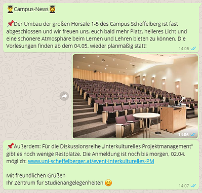 In WhatsApp Newslettern über Campus News informieren