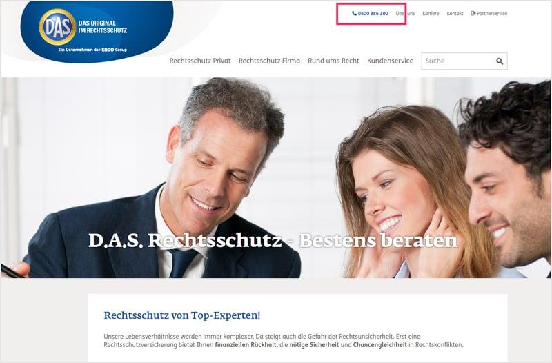 D.A.S. Rechtsschutz 0800-Nummer von yuutel