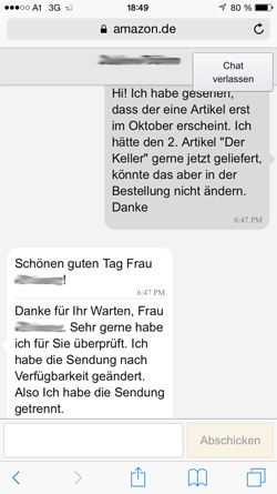 Support-Chat bei Amazon