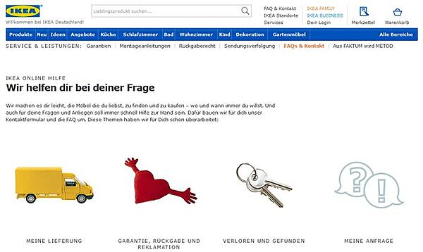 IKEA Online Hilfe mit Kontaktmöglichkeiten und zahlreichen FAQs