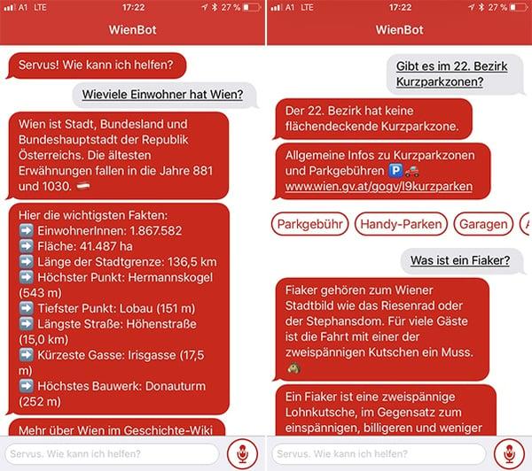 Der WienBot beantwortet Fragen rund um die Stadt Wien